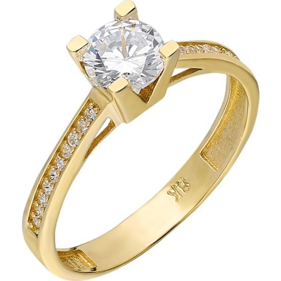 Chavin 0,85 Crt. Tek Taş Sarı Altın Yüzük Du33