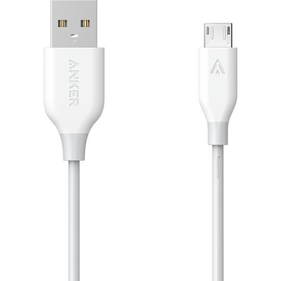 Anker PowerLine Micro USB Şarj/ Data Kablosu 1.8 Metre - Beyaz - A8133