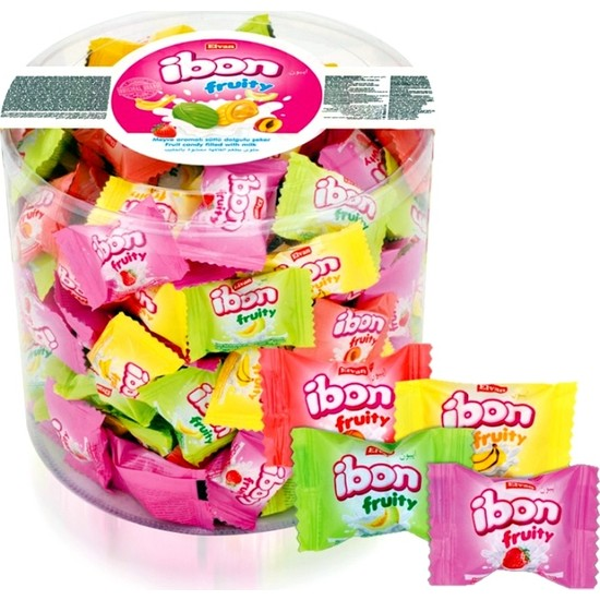 Elvan Ibon Fruity Meyve Aromalı Sütlü Dolgulu Sert Şekerleme 1 kg