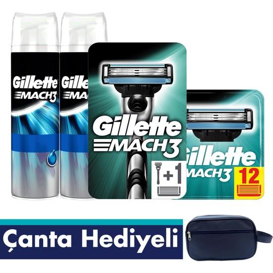 Gillette Mach3 Tıraş Paketi (Tıraş Makinesi + 12'li Bıçak + 2'li Jel+Seyahat Çantası)