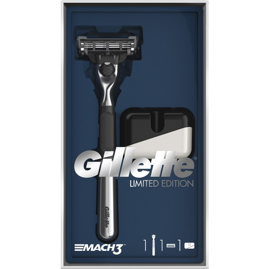 Gillette Mach3 Tıraş Makinesi Özel Seri Krom Kaplama + (Tıraş Makinesi Standı)