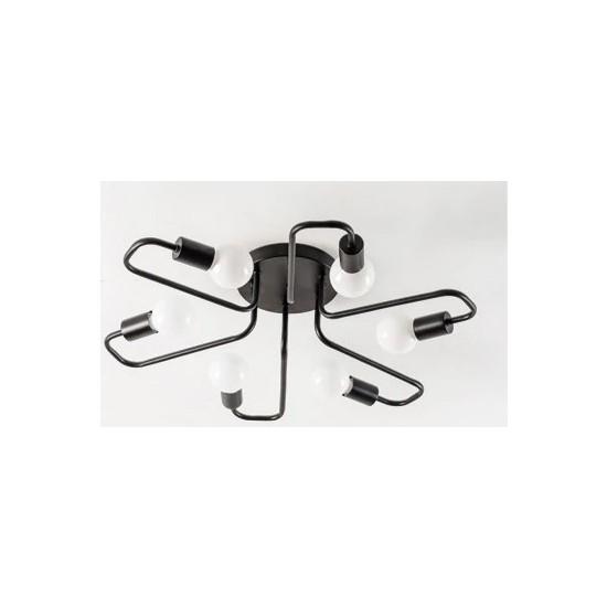 Taşcan Aydınlatma Nice Döngü 6 Lı Siyah Plafonyer/Tavana Monte Avize