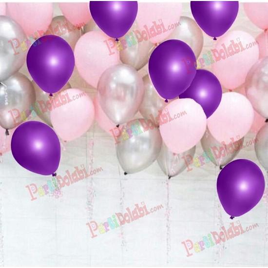 PartiniSeç 30 Adet Metalik Sedefli Mor-Pembe-Gümüş Gri Karışık Balon Helyum
