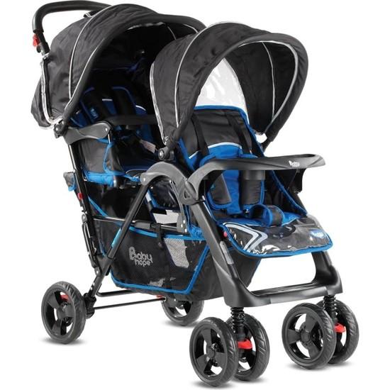 Babyhope P-738 İkiz Puset Siyah-Mavi