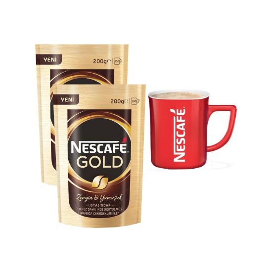 Nescafe Gold Eko Paket 200 gr 2 Adet alana 1 Adet Nescafe Bardak