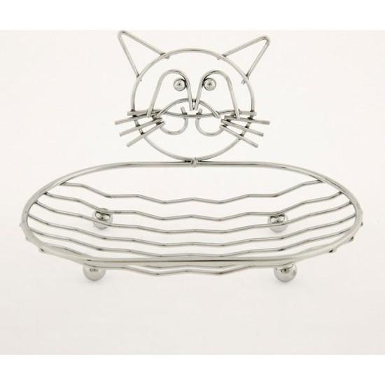 Evim Tatlı Evim Kedi Figürlü Metal Katı Sabunluk