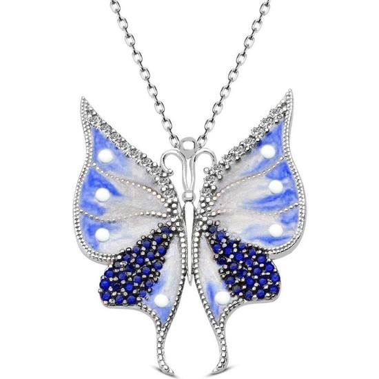 Nereze 925 Ayar Gümüş Mavi Mineli Kelebek Kolye Bayan Gümüş Kolye