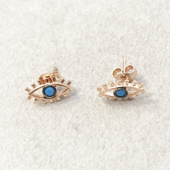 Vella Jewels Turkuaz Taşlı Göz Çivi Küpe