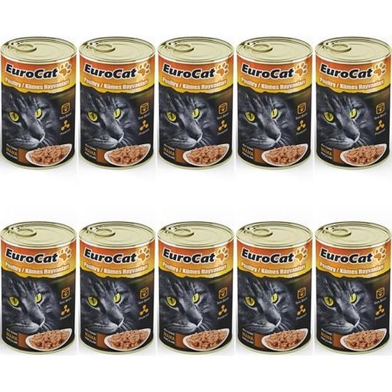Eurocat Kedi Konservesi Kümes Hayvanlı 415Gr X 10 Adet