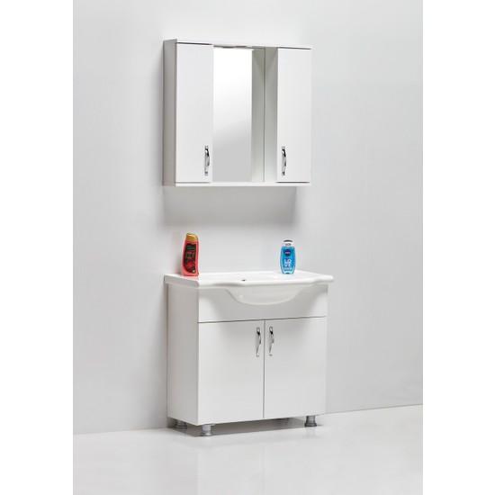 Hepsi Home Saydam Klasik 80 cm Mdf Banyo Dolabı Beyaz