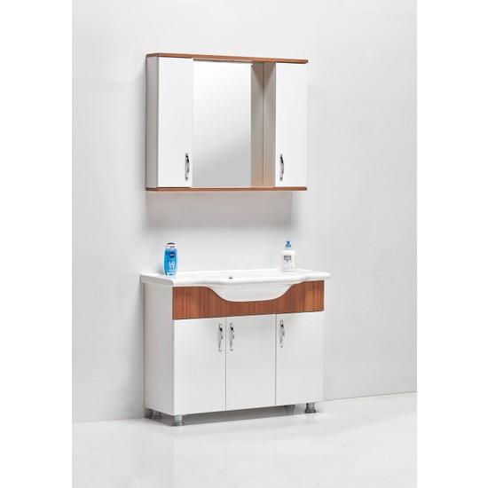 Hepsi Home Saydam Royal 100 cm Mdf Banyo Dolabı Teak Beyaz