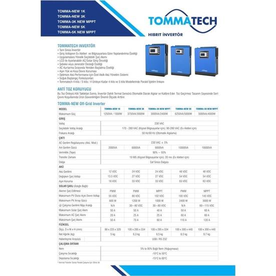 Tommatech New 5 Kva Tam Sinüs İnvertör 6250VA 5000W 48V