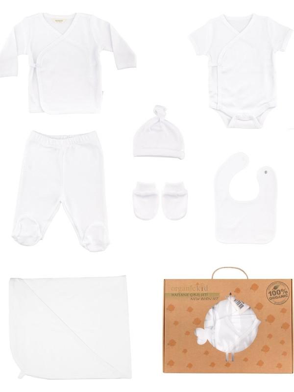 Organic Kid Naturel Hastane Çıkış Seti Beyaz 7 Parça