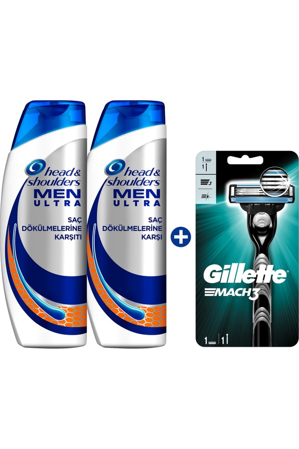 Head & Shoulders Men's Ultra Hair Loss Shampoo 2 Pieces + Gillette Mach 3 Shaver