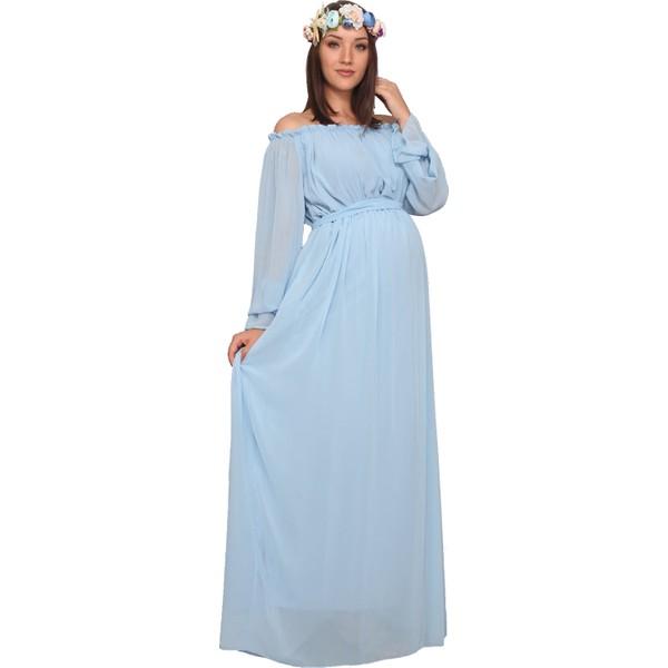 bd176bd53c4ca Moda Labio Babyshower Dökümlü Bebe Mavi Hamile Elbisesi - 38 - Açık Mavi  Ürün Resmi