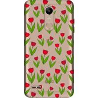 Cekuonline LG K11 Desenli Esnek Silikon Telefon Kapak Kılıf - Kırmızı Lale