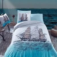 Cotton Box Maritime Ranforce Nevresim Takımı Shıp Mavi Tek Kişilik