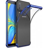 Elite Samsung Galaxy A7 2018 Kılıf Ultra Slim Şeffaf Dört Köşe Lazer Silikon - Mavi