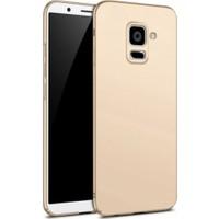 Elite Samsung Galaxy A8 2018 Rubber Kılıf Arka Kapak Gold