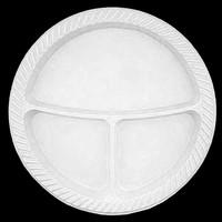 Cansüs 10lu Plastik 3 Bölmeli Tabak Beyaz 25 cm