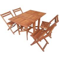 HepsiBurada Home Balkon Bahçe Teras 4 Sandalye 1 Katlanır Masa Set Kanatlı Masa Sandalye seti