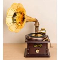 Katarsis Nostaljik Gramafon Müzik Kutusu Çekmeceli Büyük Boy Kahverengi