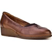 Cabani Dolgu Topuklu Streç Detaylı Günlük Kadın Ayakkabı Taba Deri