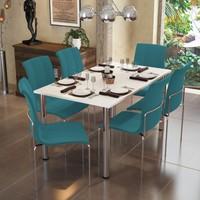 Modi̇layn Meriç Masa Takım 6 Turkuaz Klas Sandalye Metal Krom