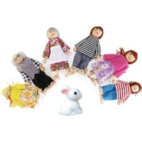 Piramigo 6 Adet Mini Ahşap Dollhouse Aile Bebek Oyuncak Seti Ve Sevimli Tavşan