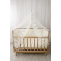 Babybee Doğal Elyaza Anne Yanı Beşik Osmanlı Dantelli Uyku Seti 60 x 120 cm