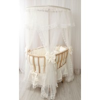 Babybee Doğal Çatılı Ahşap Anne Yanı Sepet Beşik Krem Fransız Dantelli Set