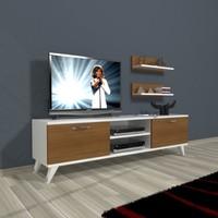 Decoraktiv Eko 150 Slm Dvd Retro Tv Ünitesi Tv Sehpası Beyaz Ceviz