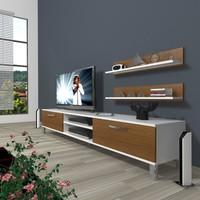 Decoraktiv Eko 4 Mdf Dvd Krom Ayaklı Tv Ünitesi Tv Sehpası Beyaz Ceviz