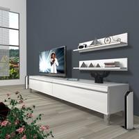 Decoraktiv Eko 4 Mdf Std Krom Ayaklı Tv Ünitesi Tv Sehpası Parlak Beyaz