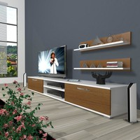 Decoraktiv Eko 4 Slm Dvd Tv Ünitesi Tv Sehpası Beyaz Ceviz