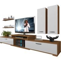 Decoraktiv Flex 5D MDF Tv Ünitesi Tv Sehpası Ceviz Beyaz