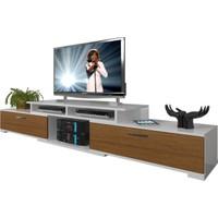 Decoraktiv Flex130 MDF Tv Ünitesi Tv Sehpası Beyaz Ceviz