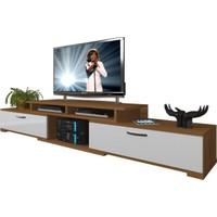 Decoraktiv Flex130 MDF Tv Ünitesi Tv Sehpası Ceviz Beyaz