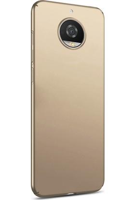 Microsonic Motorola Moto G5S Kılıf Slim Fit Rubber Gold + Nano Cam
