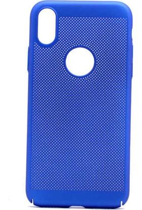 Evastore Apple iPhone X Kılıf Delikli Rubber Kapak - Mavi