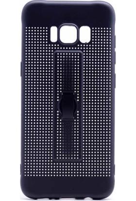 Evastore Galaxy S8 Kılıf Zore Jaguar Standlı Silikon - Mavi