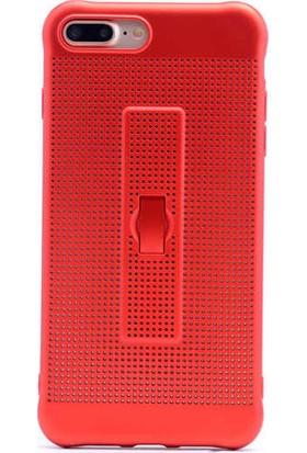 Evastore Apple iPhone 7 Plus Kılıf Zore Jaguar Standlı Silikon - Kırmızı