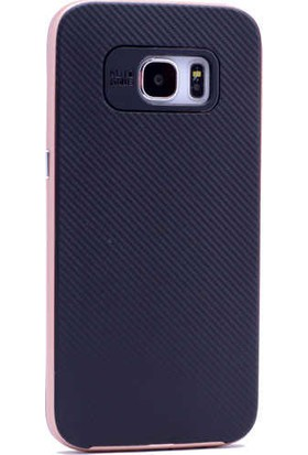 Evastore Galaxy S7 Edge Kılıf Zore İnce Mono Karbon Silikon Kapak - Rose Gold