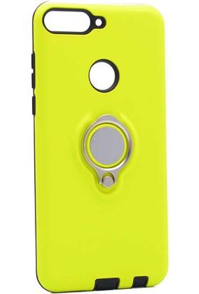 Evastore Huawei Y7 2018 Kılıf Zore Ring Yoyou Kapak - Sarı