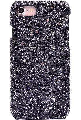 Evastore Apple iPhone 7 Kılıf Zore Telefon Kılıfılogy Simli Kapak - Siyah