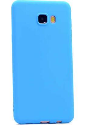 Evastore Galaxy C7 Kılıf Zore Premier Silikon - Mavi