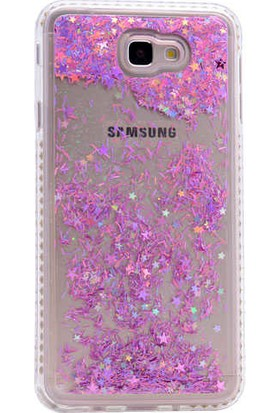Evastore Galaxy J7 Prime Kılıf Zore Sıralı Taşlı Sıvılı Silikon - Gold
