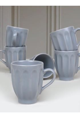 Keramika 6 Adet 10 Cm Badem Kupa Mat Messe Gri-969