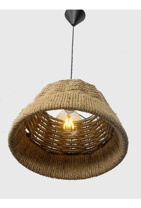 Bambu Otantik Sarkıt Sepet Hasır Avize El Yapımı Estetik Şekilli Avize