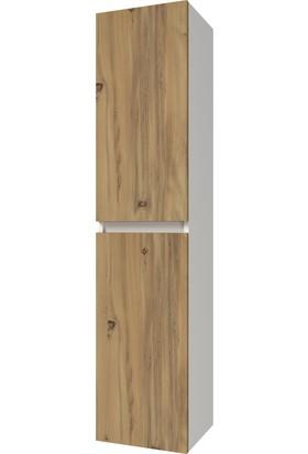 Banos BD2 Ayaksız 2 Kapaklı Ceviz 155 x 35 cm Banyo Boy Dolabı